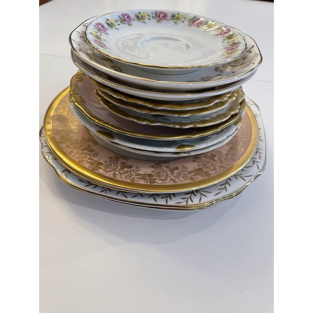 Vintage Pink and Gold Mixed Decorative Plates- a Set 12 For Sale - Image 9 of 13