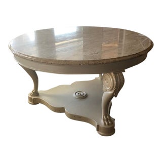 Hollywood Regency Wood Center Table With Marble Top For Sale