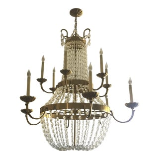 Circa Paris Brass & Crystal Chandelier For Sale