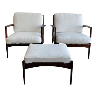 1960s Kofod Larsen for Danish Control Lounge Chairs and Ottoman-Set of 3 For Sale