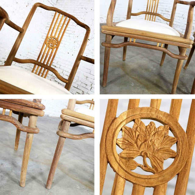 Set of Four Natural Teak Indonesian Ming Style Dining Armed Chairs With Upholstered Seats For Sale - Image 10 of 13