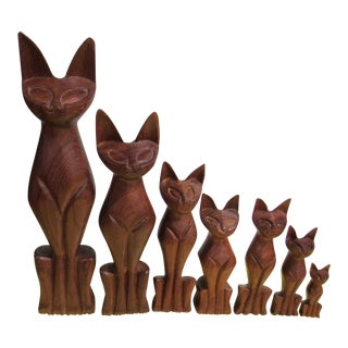 Vintage Mid Century Modern Hand Carved Wood Cats - Set of 7 For Sale