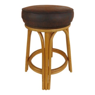 Rattan Counter Stool W/ Naugahyde Upholstered Seats by Clark Casual Furniture- 2 Available For Sale