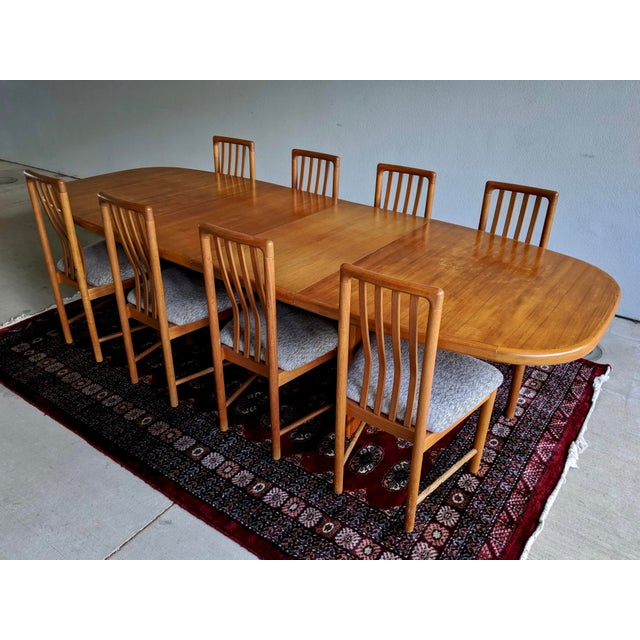 Bent Silberg Mobler 1970s Danish Modern Teak Dining Table + 8 Chairs For Sale - Image 4 of 13