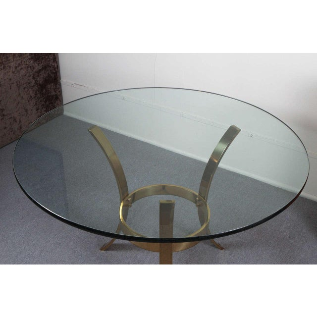 Brass 1970s Modern Brass and Glass Tripod Entry Table For Sale - Image 8 of 9