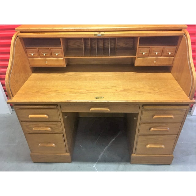 Solid Oak Roll-Top Desk With Keys - Image 8 of 10