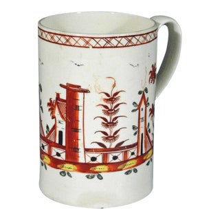 English Painted Chinoiserie Creamware Mug
