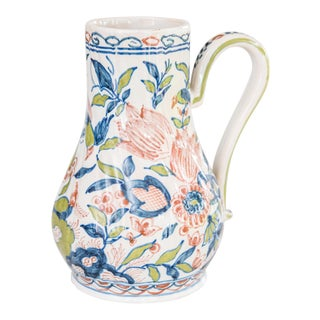 Antique Dutch Delft Polychrome Pitcher Jug For Sale