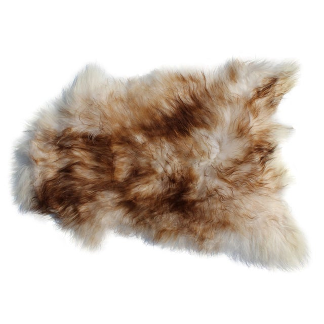 Modern Genuine Icelandic Sheepskin Shade of Brown Rug Throw- 2′ × 3′ For Sale - Image 9 of 9