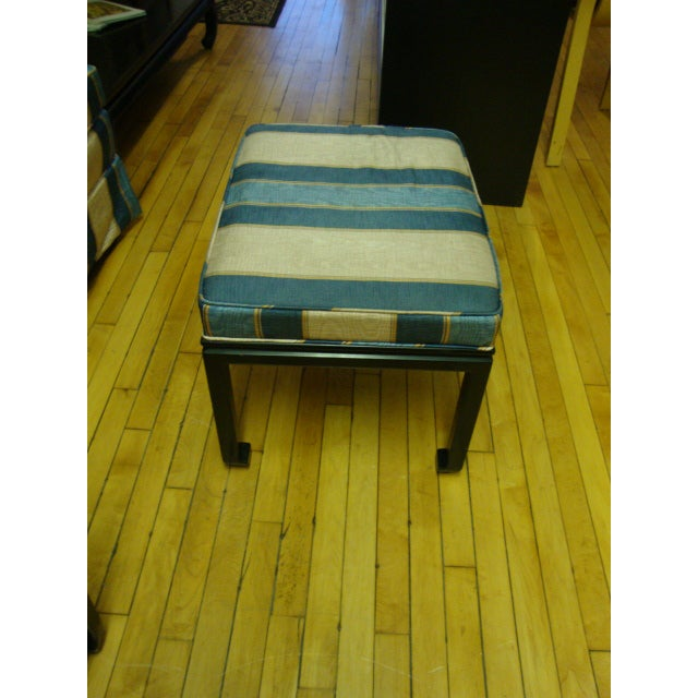 Vintage Moire Satin Armchair and Ottoman - Image 10 of 10