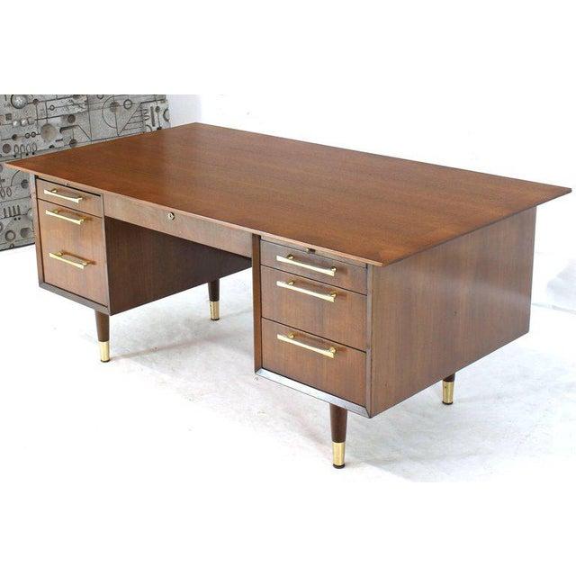 Caned Back Overhanging Floating Banded Top Large Brass Hardware Executive Desk For Sale - Image 10 of 12