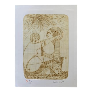 Late 20th Century Vintage Stone Lithograph For Sale