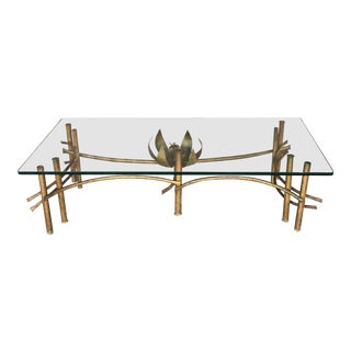 1960s Hollywood Regency Lotus Coffee Table For Sale