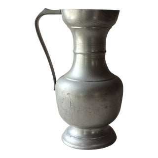 Antique French Pewter Wine Ewer Pitcher For Sale