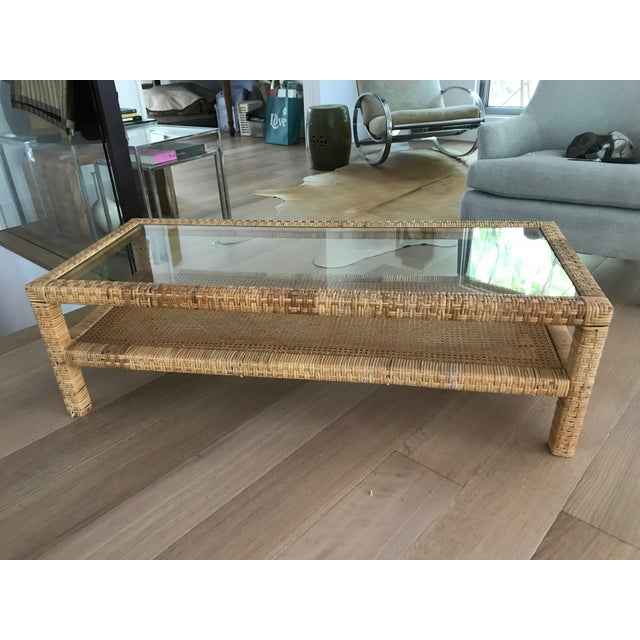Rattan Wrapped Glass Top Coffee Table For Sale In Washington DC - Image 6 of 6