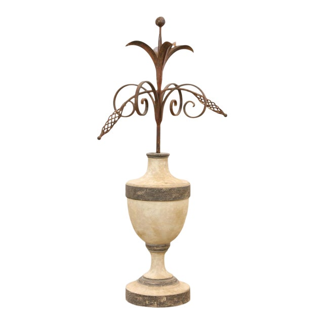 18th C Style Las Palmas Collection Huge Paint Decorated Giltwood & Iron Centerpiece Urn For Sale