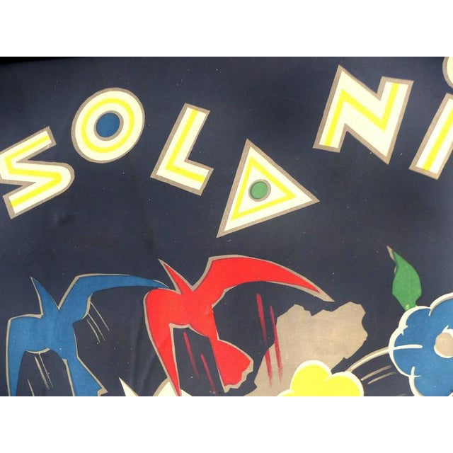 """A very dramatic vintage stone lithographic poster for Solanis titled """"Le Magicien Moderne"""". Against a black background..."""