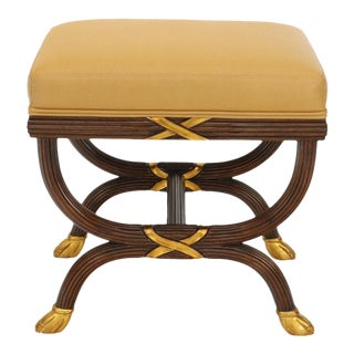 William Switzer Neoclassical Mahogany and Gold X Base Ottoman Bench For Sale