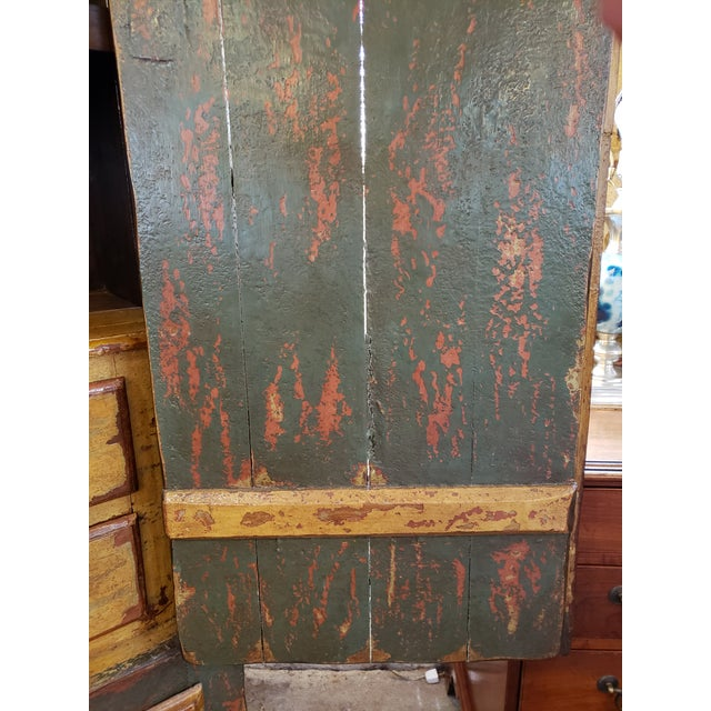 Wood Rustic Hand Painted Arch Top Armoire For Sale - Image 7 of 13
