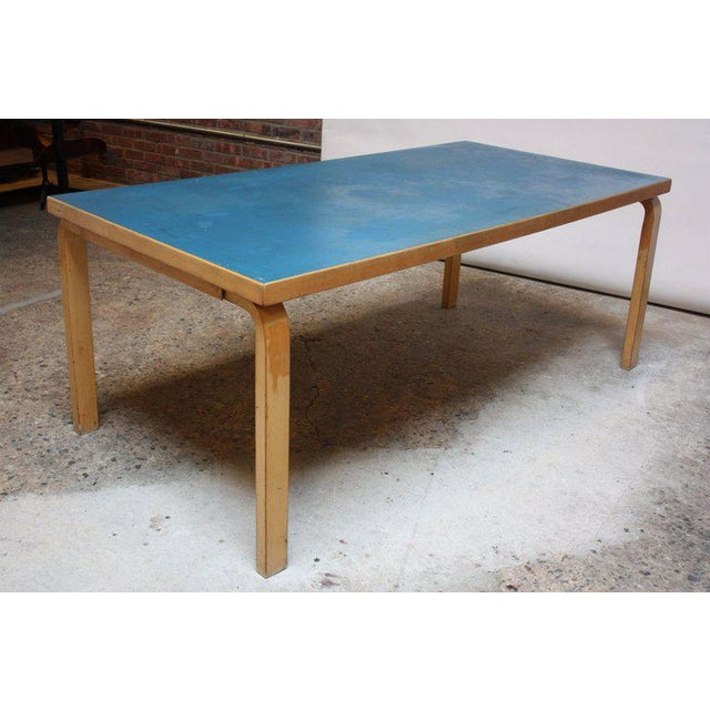 Alvar Aalto Birch Dining or Writing Table with Blue Top and Cabinet - Image 4 of 11