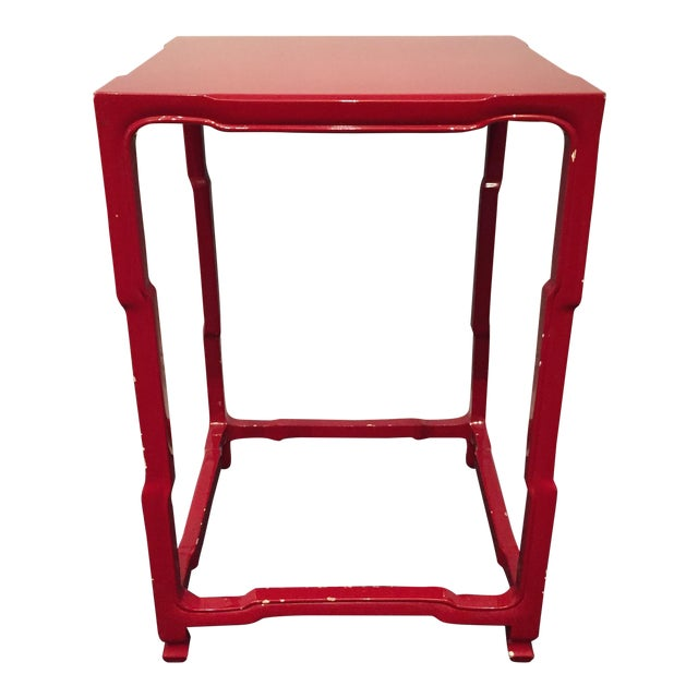 Modern-Asian Red Square Side Table - Image 1 of 5