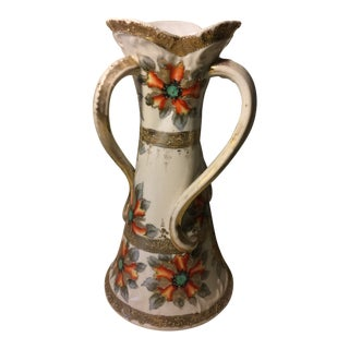 1950s Vintage Flowers Ornament Ceramic Enameled Urn For Sale