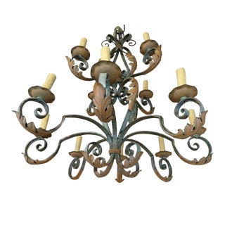 Wrought Iron French Chandelier For Sale