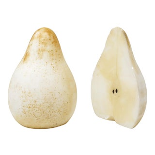 1960s Handmade Alabaster Stone Pear Bookends - a Pair For Sale