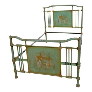 1800s Antique European Cast Iron Steel Green Orange Shabby Chic Bedframe For Sale