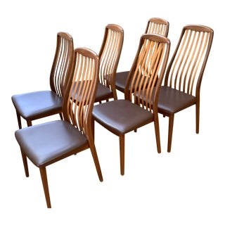 Mid Century Modern Danish Sven Madsen Design Teak Dining Chairs- Set of 6 For Sale