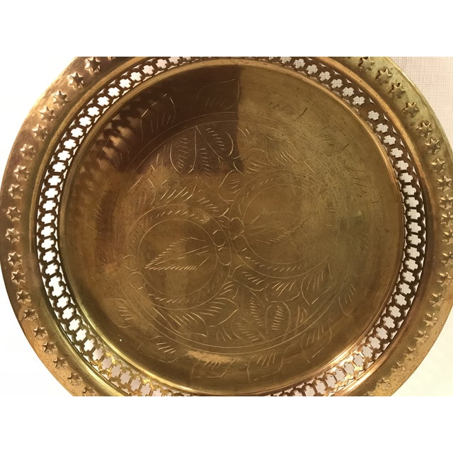 Mid 20th Century Mid-Century Modern Brass Pierced and Embossed Tray For Sale - Image 5 of 7