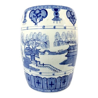 Mid 20th Century Chinese Blue and White Garden Stool With Lakes, Temples and Willows For Sale