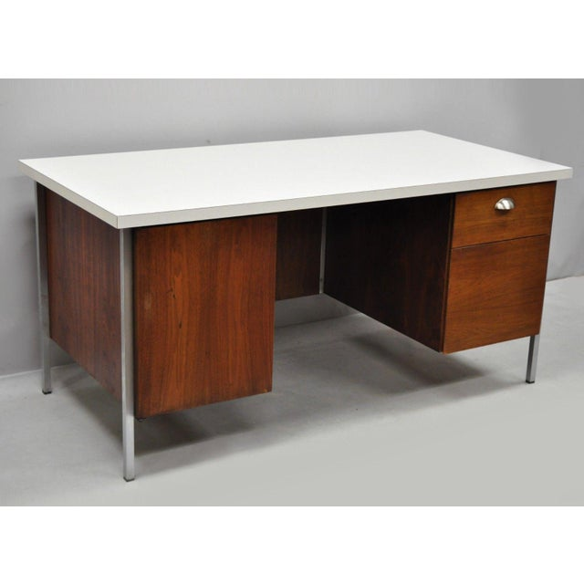 Mid Century Modern Florence Knoll Walnut Executive Desk For Sale - Image 11 of 11