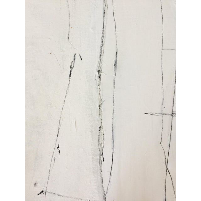 Abstract Abstract Black and White Mixed Media Painting For Sale - Image 3 of 7