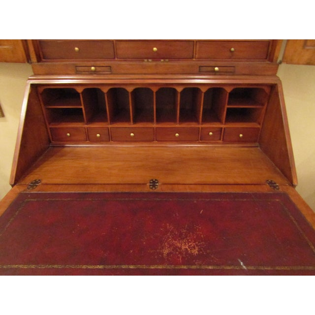 1940s 1940s English Traditional Tall Secretaire Cabinet With Slant Front Writing Desk For Sale - Image 5 of 8