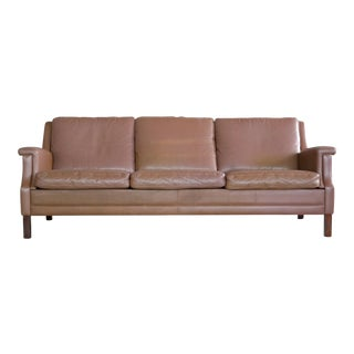 Classic Danish Mid-Century Olive Brown Leather Sofa For Sale