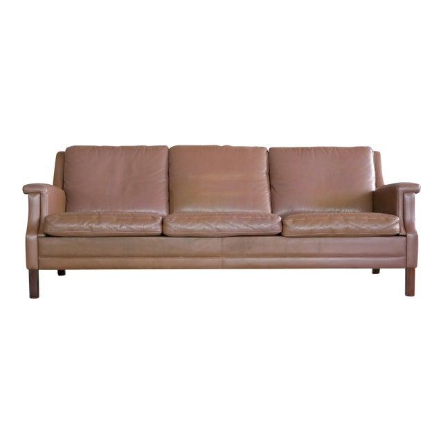 Classic Danish Mid-Century Olive Brown Leather Sofa | Chairish