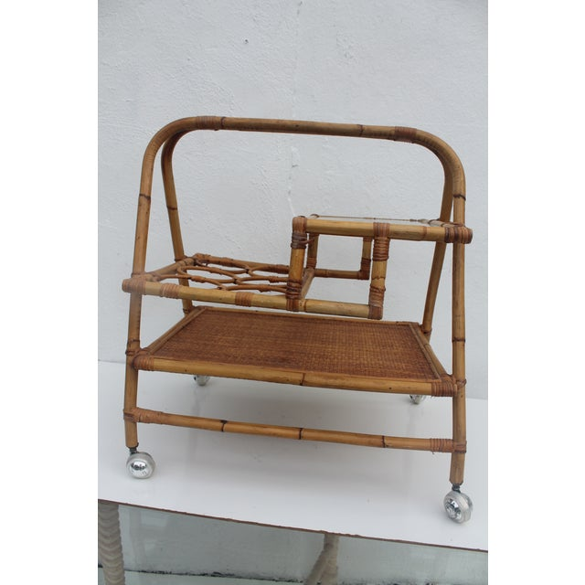 Mid-Century Modern Vintage Small Rolling Wicker & Rattan Tea Cart For Sale - Image 3 of 11