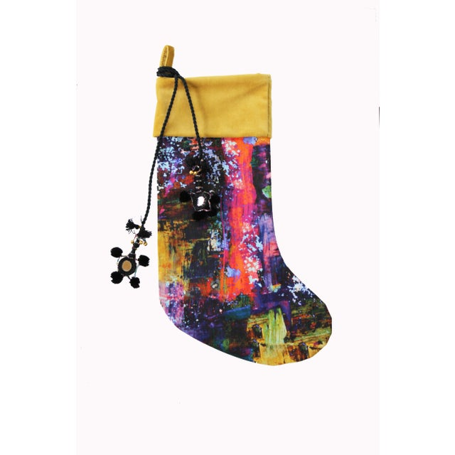 Contemporary Handmade Painterly Christmas Stocking For Sale - Image 3 of 3