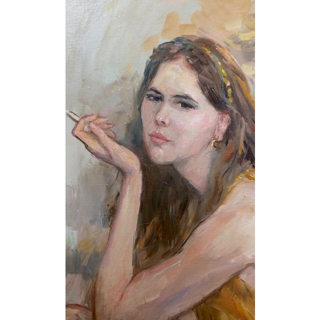 Pretty Woman Holding a Cigarette Original 1967 Oil Painting by Sam Harris For Sale - Image 4 of 10