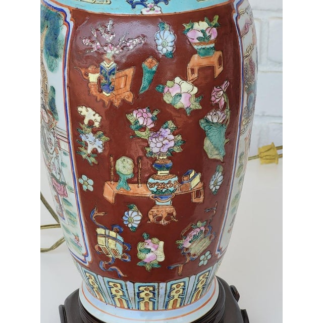 Chinese Vintage Mid Century Chinese Hand Carved Lamp For Sale - Image 3 of 11