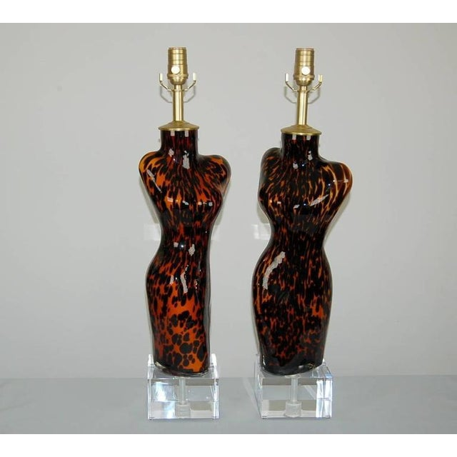 Venus sculptural Murano glass table lamps in LEOPARD SPOTS, hand blown into a mold. These striking lamps are mounted on...