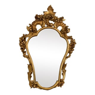 Antique French Giltwood Rococo Cartouche Shape Mirror 19th Century Wall Mirror For Sale