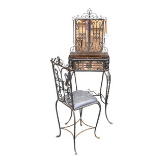 Antique Art Deco Spanish Wrought Iron Champagne Mirrored Vanity & Chair - a Pair For Sale