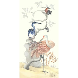 """Chinoiserie Style Bird Painting, """"Long Time No Sea"""" For Sale"""