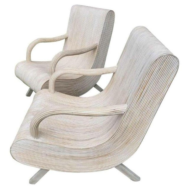 Early 21st Century Modern Pencil Reed Lounge Chairs - a Pair For Sale - Image 5 of 5