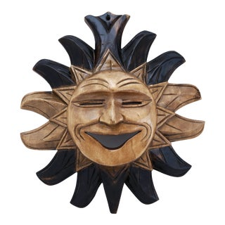 Vintage Carved Wood Sun Face Wall Hanging For Sale