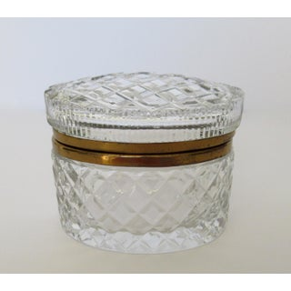 Victorian Cut & Beveled Crystal Glass & Brass Oval-Shaped Lidded Jewelry Box Preview