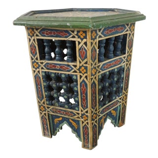 Handpainted Moroccan Handcrafted Side Table For Sale