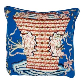 Broderique Blue Vase Decorative Pillow-With Insert For Sale